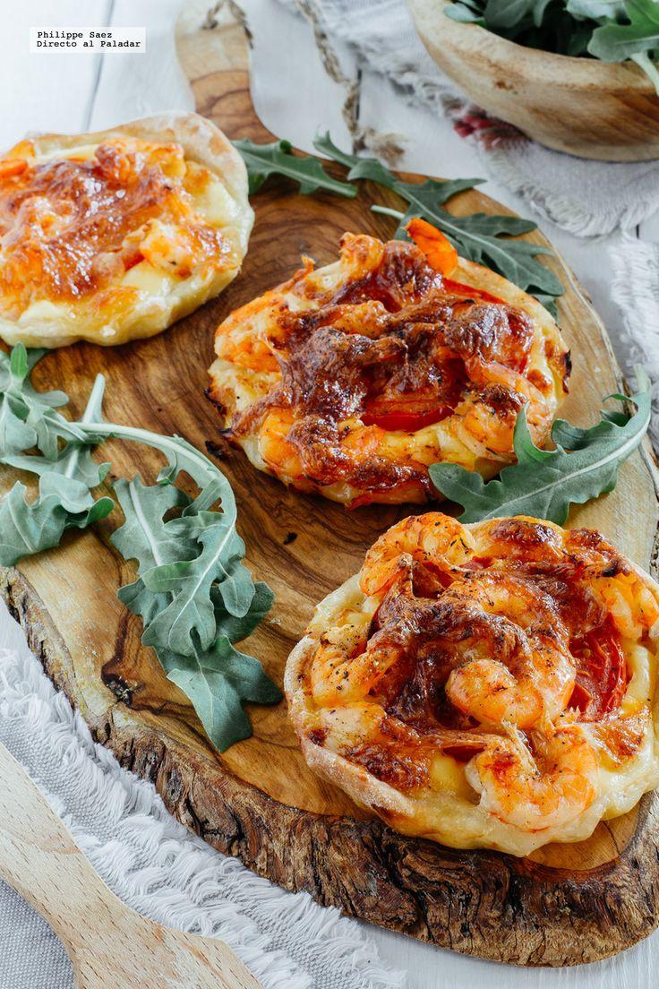 Mini pizzas de langostinos