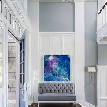 Blue and Gray Two Story Foyer