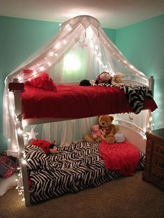 Going to attempt something like this lighted bed canopy for the kiddo's room. :)