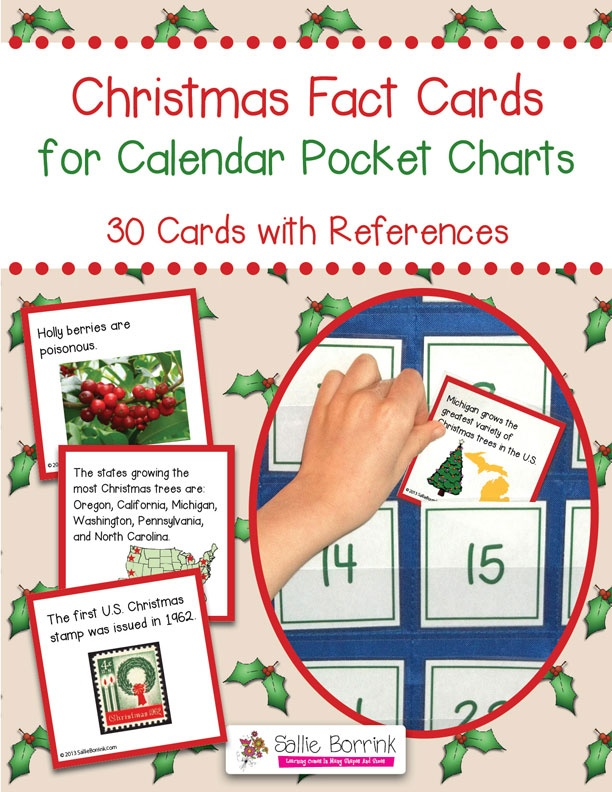 Christmas Fact Cards for Calendar Pocket Charts - Unit Extension Activity - 30 cards with fun and interesting Christmas facts
