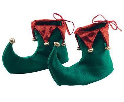 Kerst elf schoenen van stof. Groene kerstmis elfen schoenen met omhoog lopende punten. De stoffen schoenen zijn ongeveer 25 cm langs de zool gemeten. De schoenen trekt u aan over uw voeten. Niet over uw schoenen.
