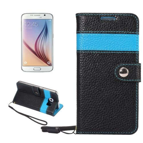 Litchi Texture Horizontal Flip Color Matching Style Genuine Leather Case with Holder & Card Slots & Wallet & Lanyard for Samsung Galaxy S6 / G920(Blue)