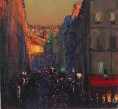 Andrew Gifford - Street near La Bastille, Last Light - Oil on board 32 x 33¼ ins (81.00 x 84.46 cms)