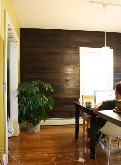 How to (that wood wall) - Stained Shiplap paneling