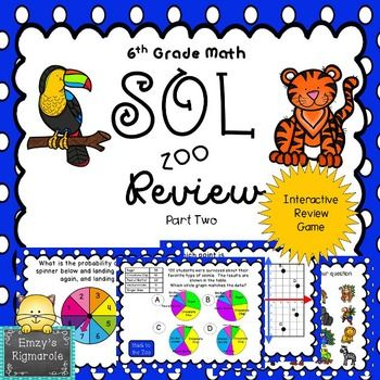 This is an interactive game that the whole class will enjoy as they review for the SOL test. The game includes 20 questions that cover half of the SOLs. The topics are: Points on the coordinate plane 6.11Congruent figures 6.12Quadrilaterals 6.13Circle Graphs 6.14Balance Point 6.15Best Measure 6.15Identifying independent and dependent events 6.16aCompound probability 6.16bSequence 6.11One-step equations- solving and models 6.18Properties- Inverse Property of multiplication and Multiplicati...