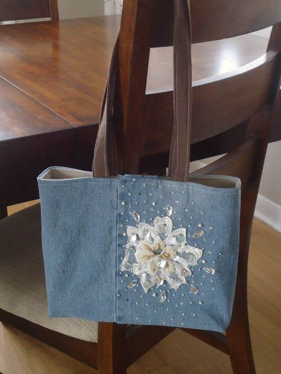 Upcycled Denim Purse with Beaded Embellishment by sweetpeapurses, $30.00