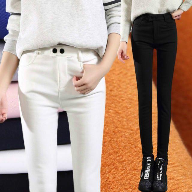 Fashion Women'S Slim Trousers Winter Warm Boots Pants Fashion Stretch Feet Pants