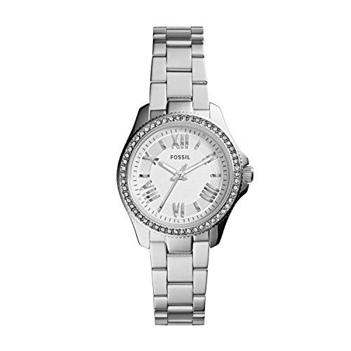 Fossil Women's AM4576 Cecile Small Three Hand Stainless Steel Watch - Silver-Tone - Refined and reinvented for fall, the chic Cecile you know and love arrives in a new petite size. Fifty-four sparkling stones and classic Roman numerals modeled after vintage clocks prove it's timeless in more ways than one.