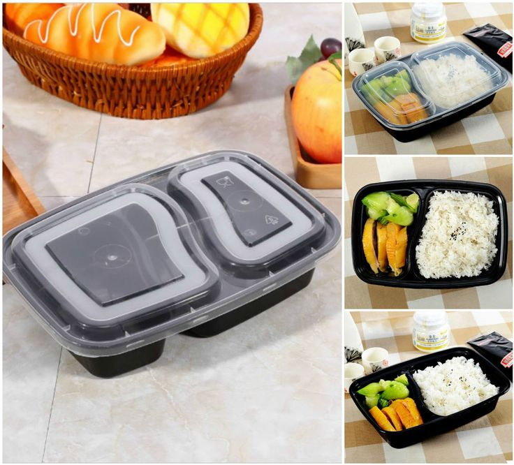 2 Compartment Meal Prep Food Containers Lids Plastic Lunch Box Stackable 10 Pack