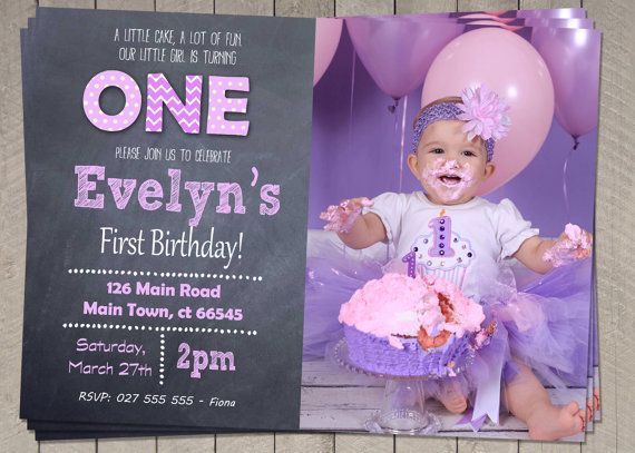Best Girls First Birthday Invitation Images On Pinterest St - 1st birthday invitations girl purple