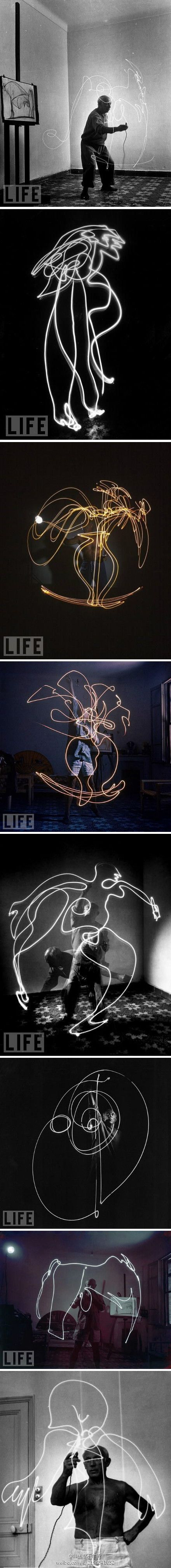 """""""In 1949, LIFE photographer Gjon Mili visited Picasso in Vallauris, France. He showed Pablo some photographs of ice skaters with tiny lights affixed to their skates jumping in the dark. Picasso was immediately inspired, these photos were the result."""""""
