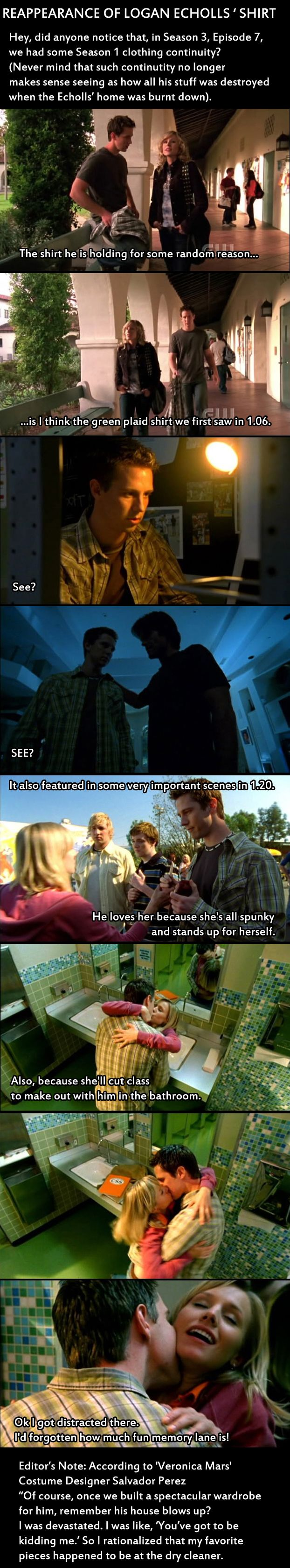 "A cameo in Season 3 of ""Veronica Mars"" by ....Logan's shirt!"