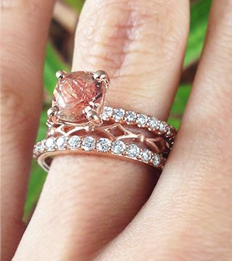 Rose Gold Rings Stackable Peach Shire Cushion Solitaire Engagement Ring