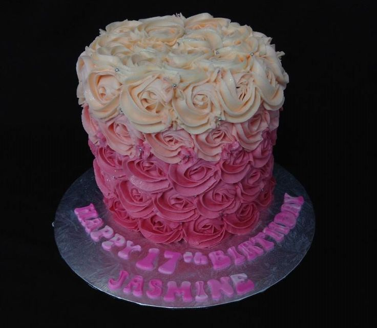 Ombre Rosette Buttercream Frosted Cake decorated by Coast Cakes Ltd