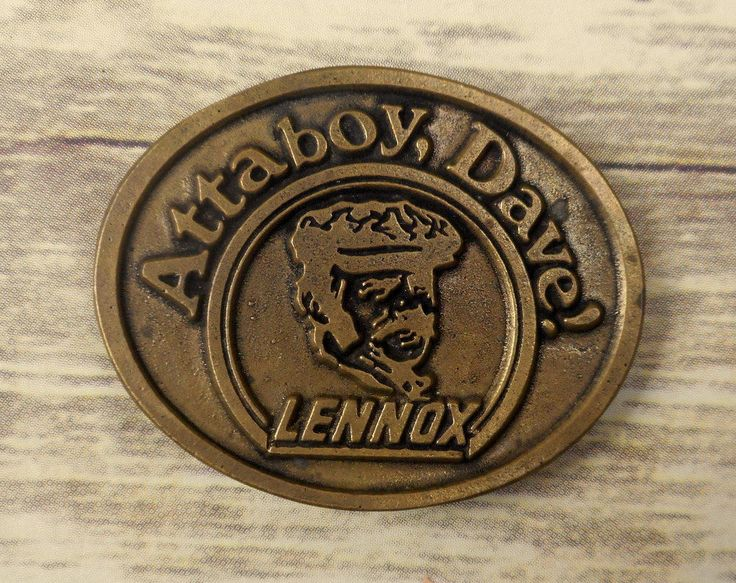 Attaboy Dave Lennox Belt Buckle Heating And Air Conditioning DynaBuckle Brass #DynaBuckle #Vintage