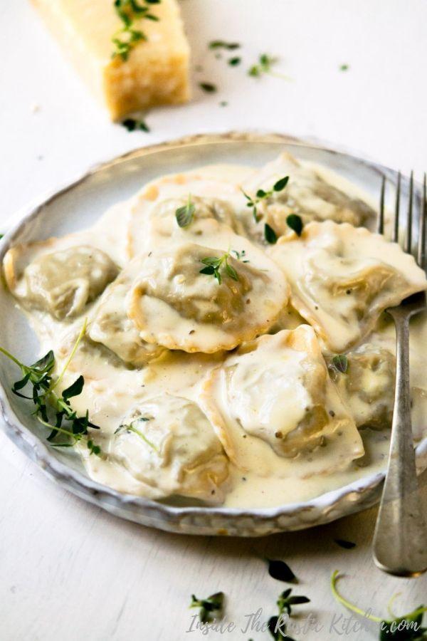 Mushroom Ravioli In A Parmesan Cream Sauce