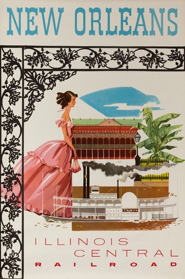 New Orleans Illnois Central Railroad Original Travel Poster