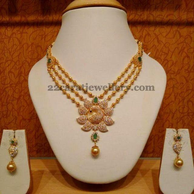 Jewellery Designs: Triple Step Cubic Zircon Stone Necklace