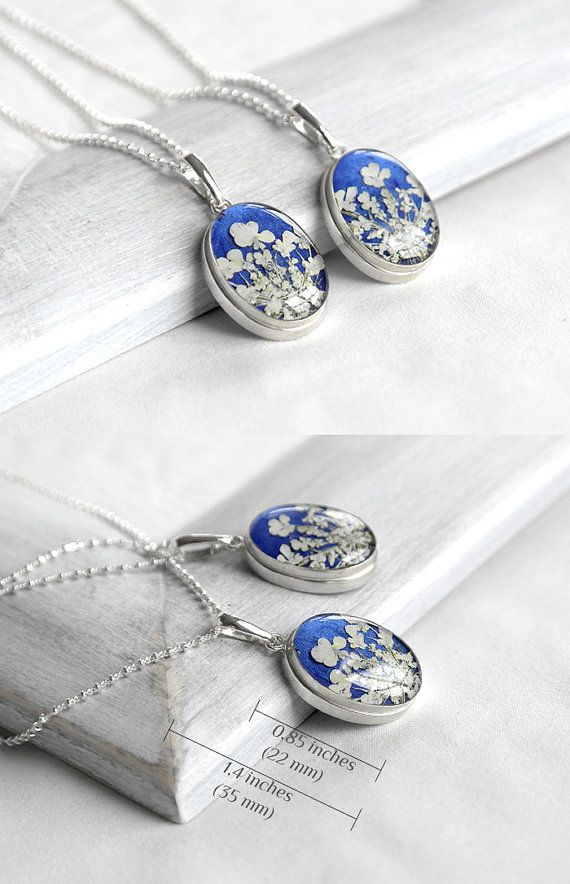 Blue wedding necklace for bride with real flower. Wedding anniversary gift for bride or anniversary love gift for wife .  With these earrings you can perfectly match this pendant and rings with the same flower:  https://www.etsy.com/listing/245910285/blue-wedding-anniversary-jewelry-for-her?ref=shop_home_active_8  https://www.etsy.com/listing/230438479/anniversary-gift-jewelry-for-women?ref=shop_home_active_4  One of a kind jewelry a...