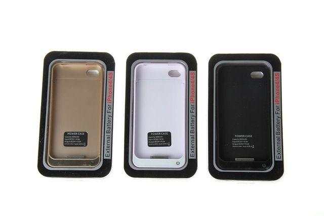 Para o iphone 4 4S 4000 mah recarregável carregador de bateria externa carregador de Backup capa para o iphone 4 4S de Backup com caixa de cristal 25 P