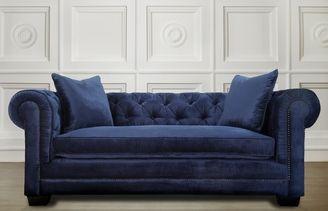 TOV Furniture Norwalk Navy Velvet Sofa