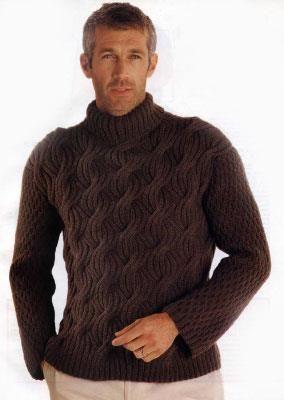 Мужской свитер связать количество петель