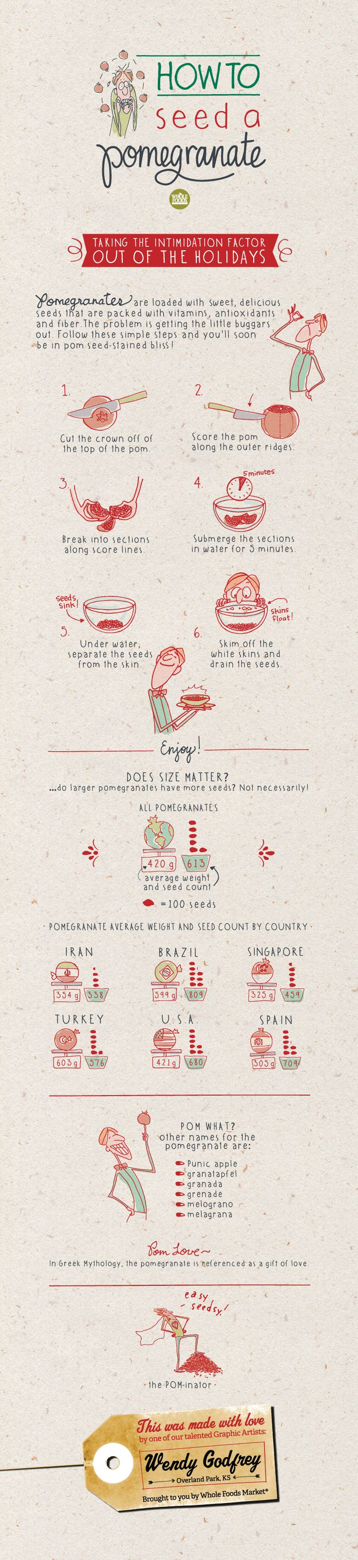 Unique Infographic Design, How To Seed A Pomegranate @qinshan0201 #Infographic #Design (http://www.pinterest.com/aldenchong/)