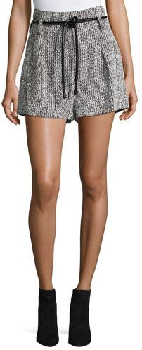 3.1 Phillip Lim Origami Tweed Shorts w/ Leather Tie