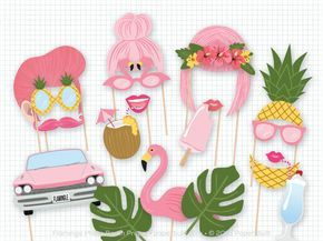 Lets Flamingle! Get in a pink tropical theme with my flamingo photo booth props. This listing is for a printable PDF of my pink photobooth props. There are 19 fun props in this collection that are perfect for a birthday party, wedding photo booth, or shower.  Nothing will be emailed or shipped to you! The PDF can be downloaded directly from Etsy once payment has cleared. Detailed downloading instructions can be seen below.  The props are sized for adults. If you would like to make the props…