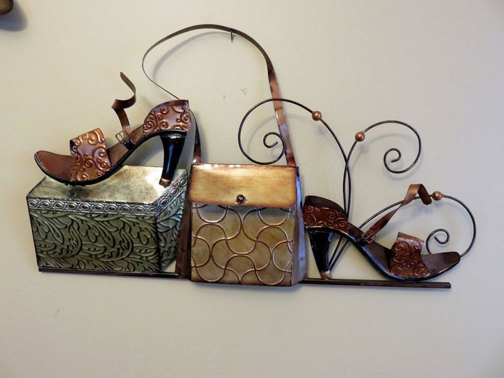 PURSE SHOE METAL WALL PLAQUE SIGN BEDROOM DECOR SHOP BOUTIQUE #Unbranded  #Contemporary