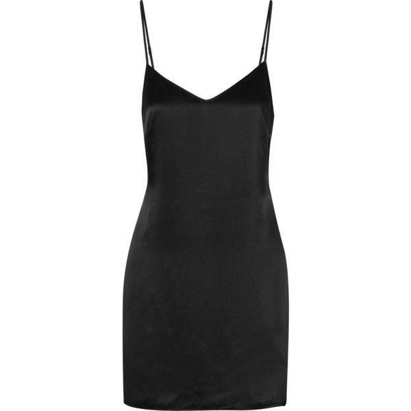 La Perla Silk chemise ($64) ❤ liked on Polyvore featuring intimates, chemises, dresses, black, la perla, black chemise, silk slips, silk chemise and black silk chemise