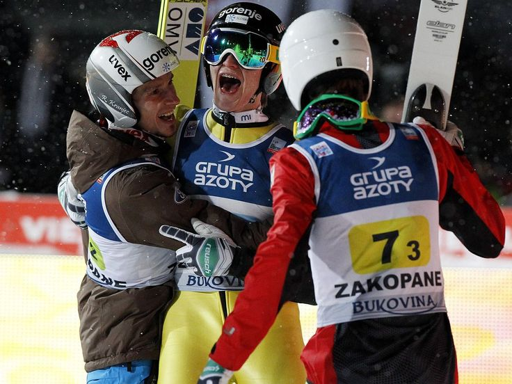 Robert Kranjec, Peter Prevc, Jaka Hvala -  World Cup - Zakopane, PL - January 11, 2013