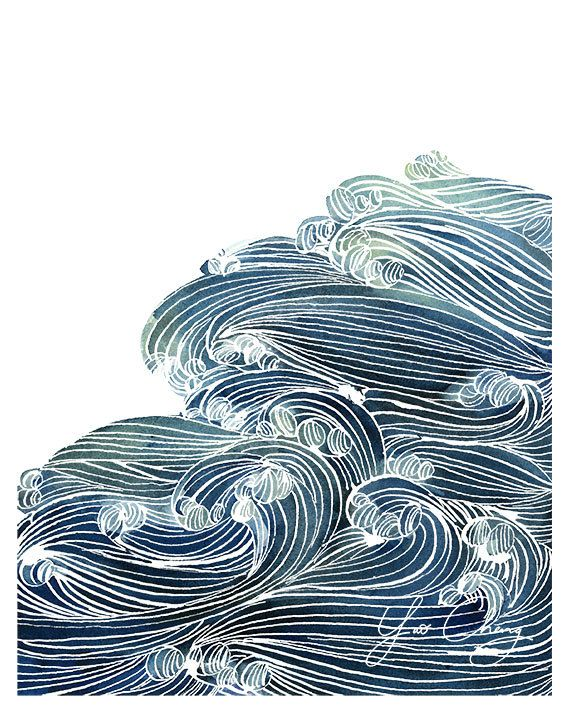 Etsy の Ocean Waves in Blue and Green Watercolor by YaoChengDesign