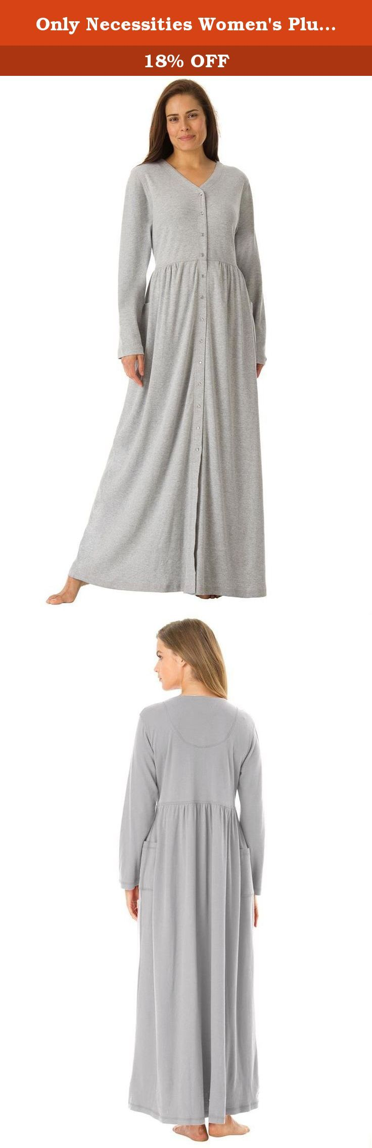 """Only Necessities Women's Plus Size Long Knit Lounger Heather Grey,2X. is beautiful and flattering, with lots of room to move. Woman Within provides the most comfortable fit in plus size sleepwear. Tagfree Long sleeves V-neck Snap front Shirred empire waist 2 patch pockets Full sweep skirt 52"""" long Washable polyester/cotton knit, USA or imported Women's plus size robes & plus size sleepwear in sizes M(14W-16W), L(18W-20W), 1X(22W-24W), 2X(26W-28W), 3X(30W-32W), 4X(34W-36W), 5X(38W-4."""