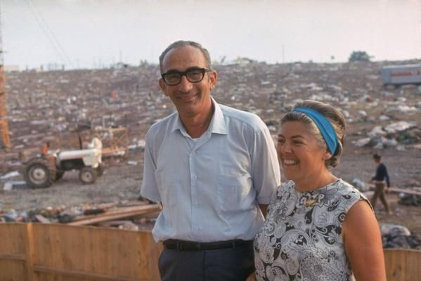 Max & Miriam Yasgur owners of the farm where Woodstock was held the day after the festival (1969)