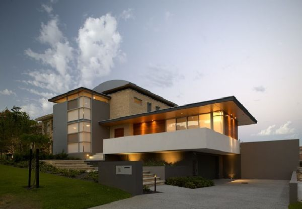 Modern house design with curved roof limestone home design Modern flat roof house designs