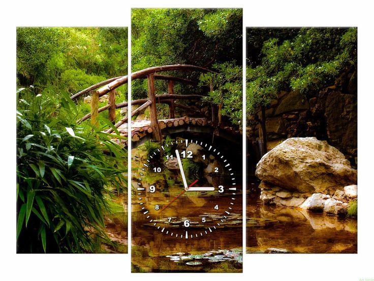 Zegar na płótnie 90X70 Ogród OBRAZY Z ZEGAREM Galeria obrazów Art Verde