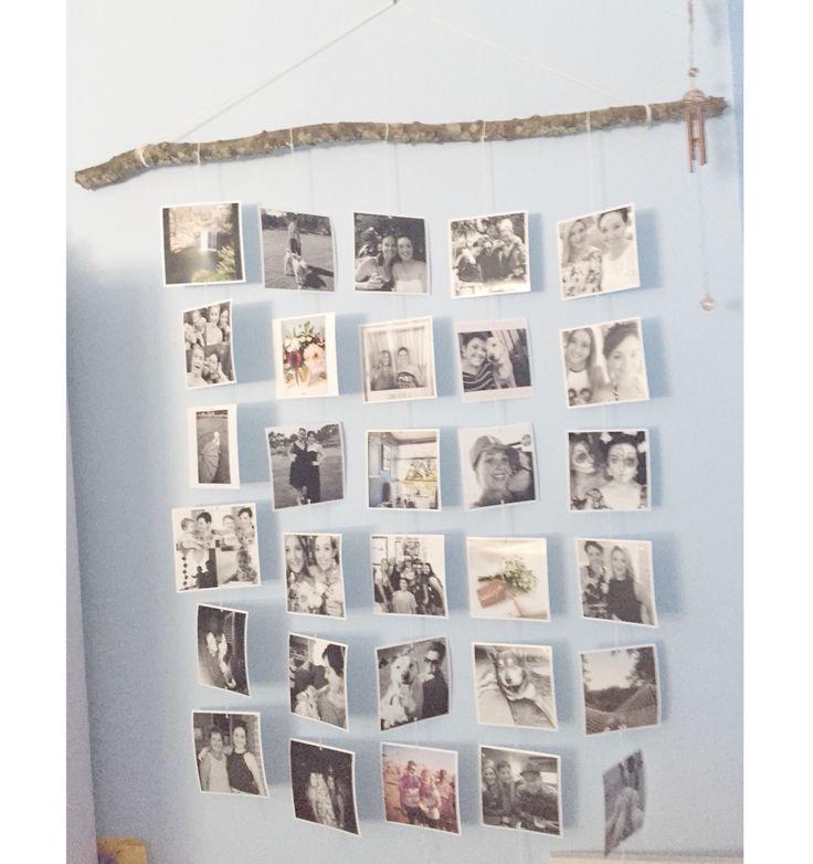 Handmade square photo wall handing