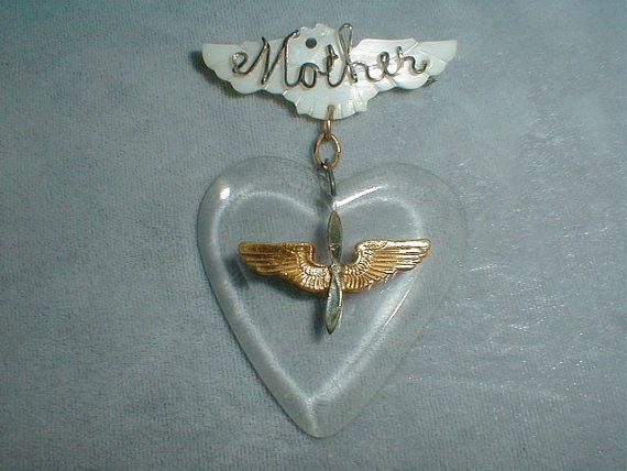 vintage ww2 mother sweetheart jewelry lucite by fadedglitter42263, $48.00