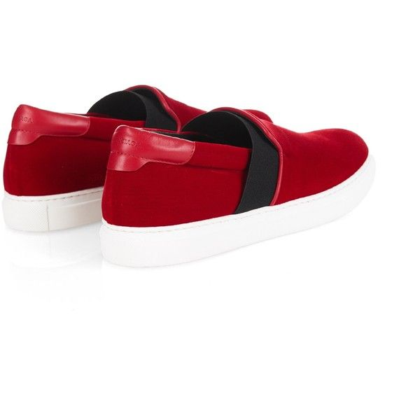 Balenciaga Slip-on velvet trainers ($595) ❤ liked on Polyvore featuring shoes, sneakers, velvet slip on shoes, pull on shoes, balenciaga shoes, slip-on shoes and red sneakers