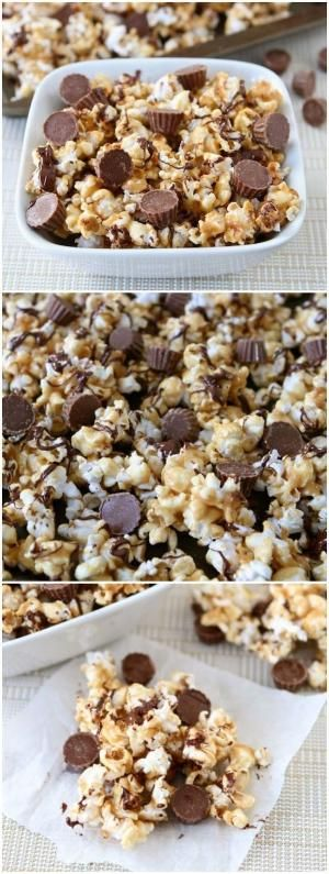 Reese's Peanut Butter Cup Popcorn | Peanut butter popcorn with a drizzle of chocolate and Mini Reese's Peanut Butter Cups. This sweet popcorn snack is perfect for movie night or game day. by melody