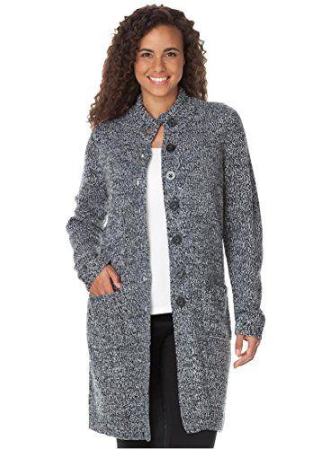 Women's Plus Size Marled Sweater Jacket Black White,M