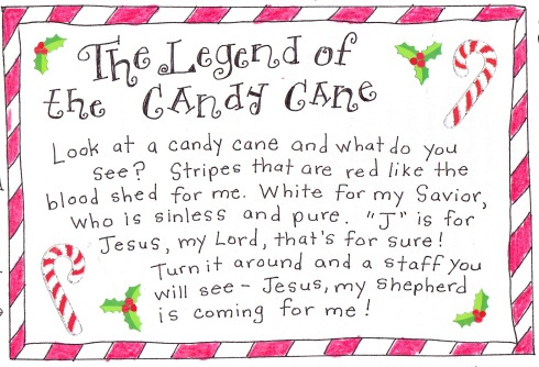 Free printable! The legend of the candy cane--just print and add to box of candy canes. Give to loved ones to share true meaning of Christmas!