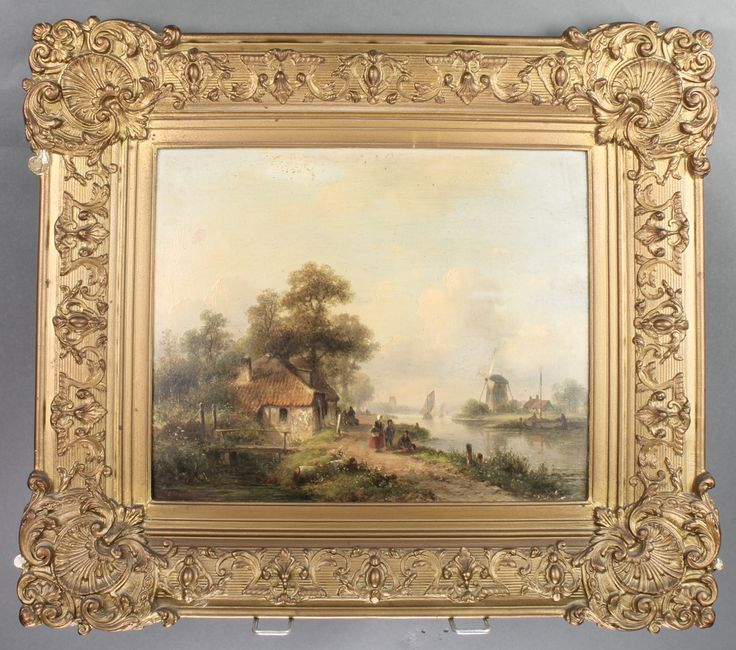 """Lot 451, A 19th Century Dutch oil on board, signed, figures beside a canal with distant windmills and buildings, indistinctly signed 10"""" x 12"""" est £200-300"""