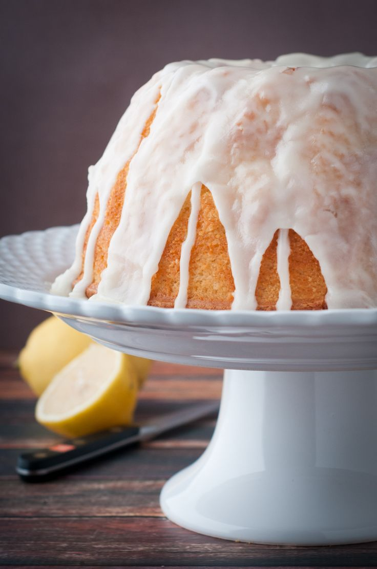 """Lemon bundt cake with lemon glaze. This lemon bundt cake is delicious, moist and easy to make. Great as a weekday snack or as a fancy dessert for guests. The glaze is the """"icing"""" on the cake!"""