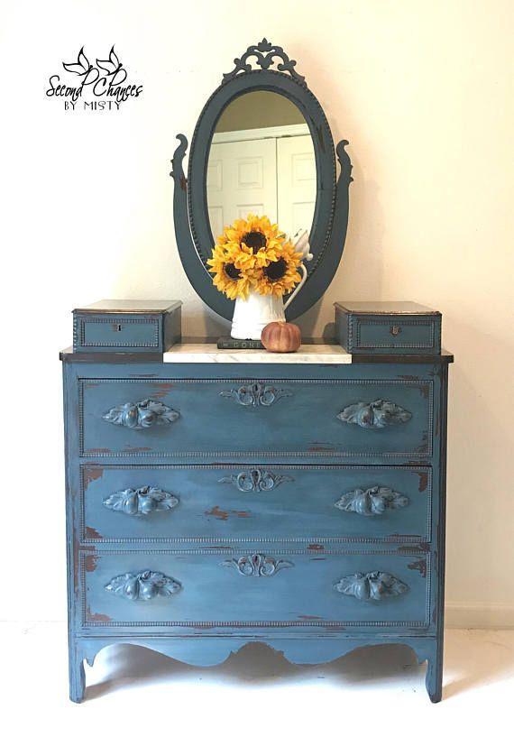 SOLD Victorian Vintage Bedroom Dresser Annie Sloan blue   Hutch ...