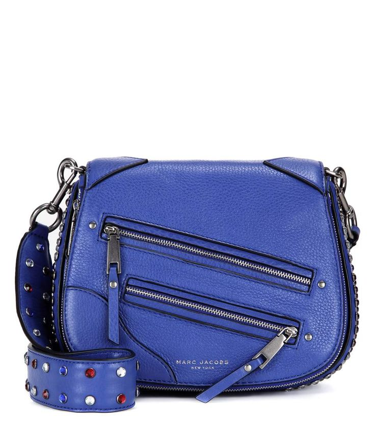 P.Y.T. Small blue, white and red embellished leather shoulder bag