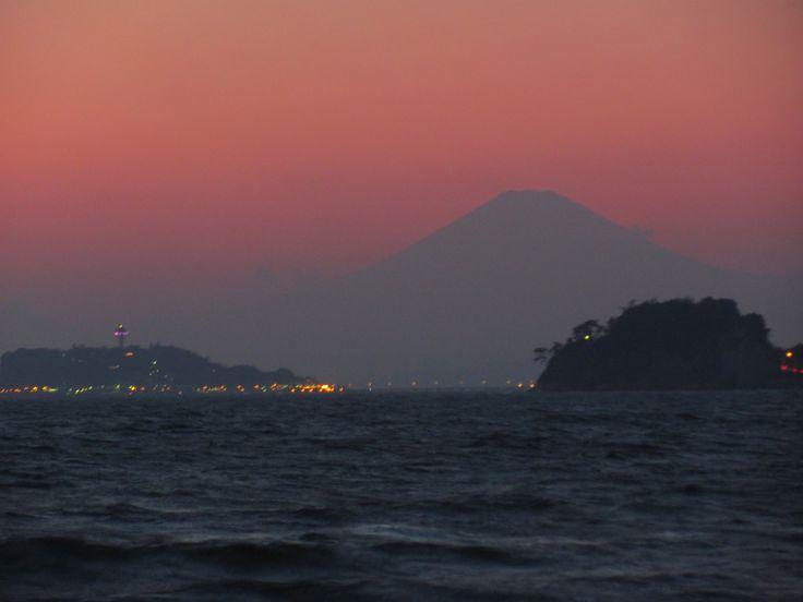 Enoshima and Mt. Fuji.