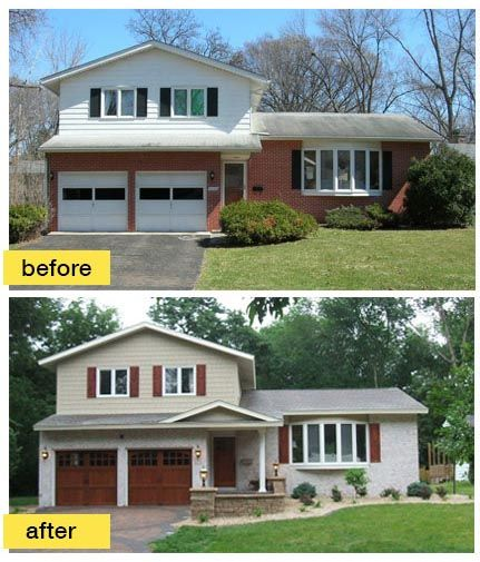 pleasing split entry house remodel before and after. Exterior update  painting brick adding shutters new garage doors Plier post needs to be bigger Find this Pin and more on Split Level Remodels 34 best images Pinterest House renovations