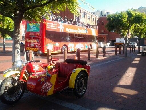 City sight seeing on topless bus - Cape Town